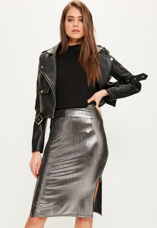 Silver Metallic Split Side Midi Skirt Missguided