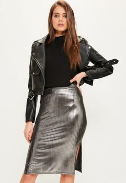 Srebrna metaliczna spódnica midi z rozporkiem po boku