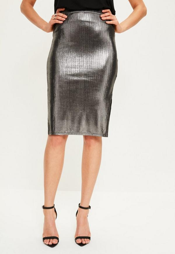 Silver Metallic Split Side Midi Skirt | Missguided