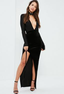 Black Lace Up Side Velvet Maxi Skirt