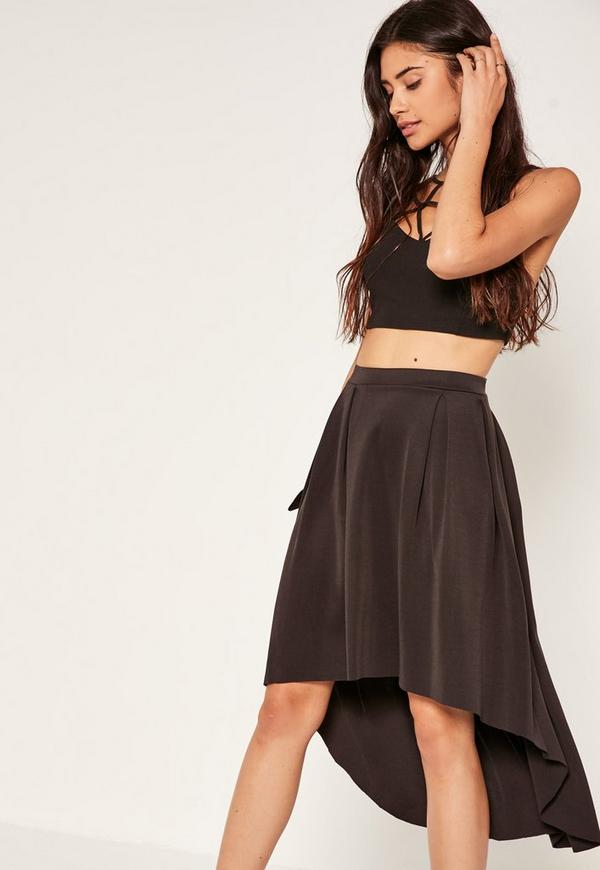 Black Dip Hem Scuba Full Midi Skirt