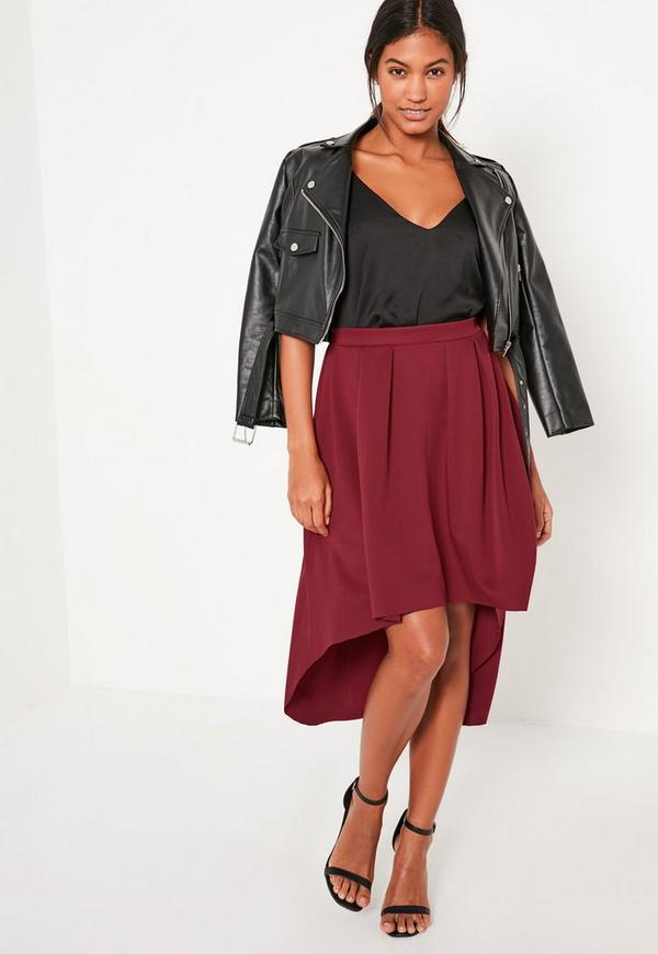 Burgundy Dip Hem Scuba Full Midi Skirt