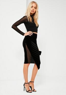 Black Velvet Mesh Inset Asymmetric Midi Skirt