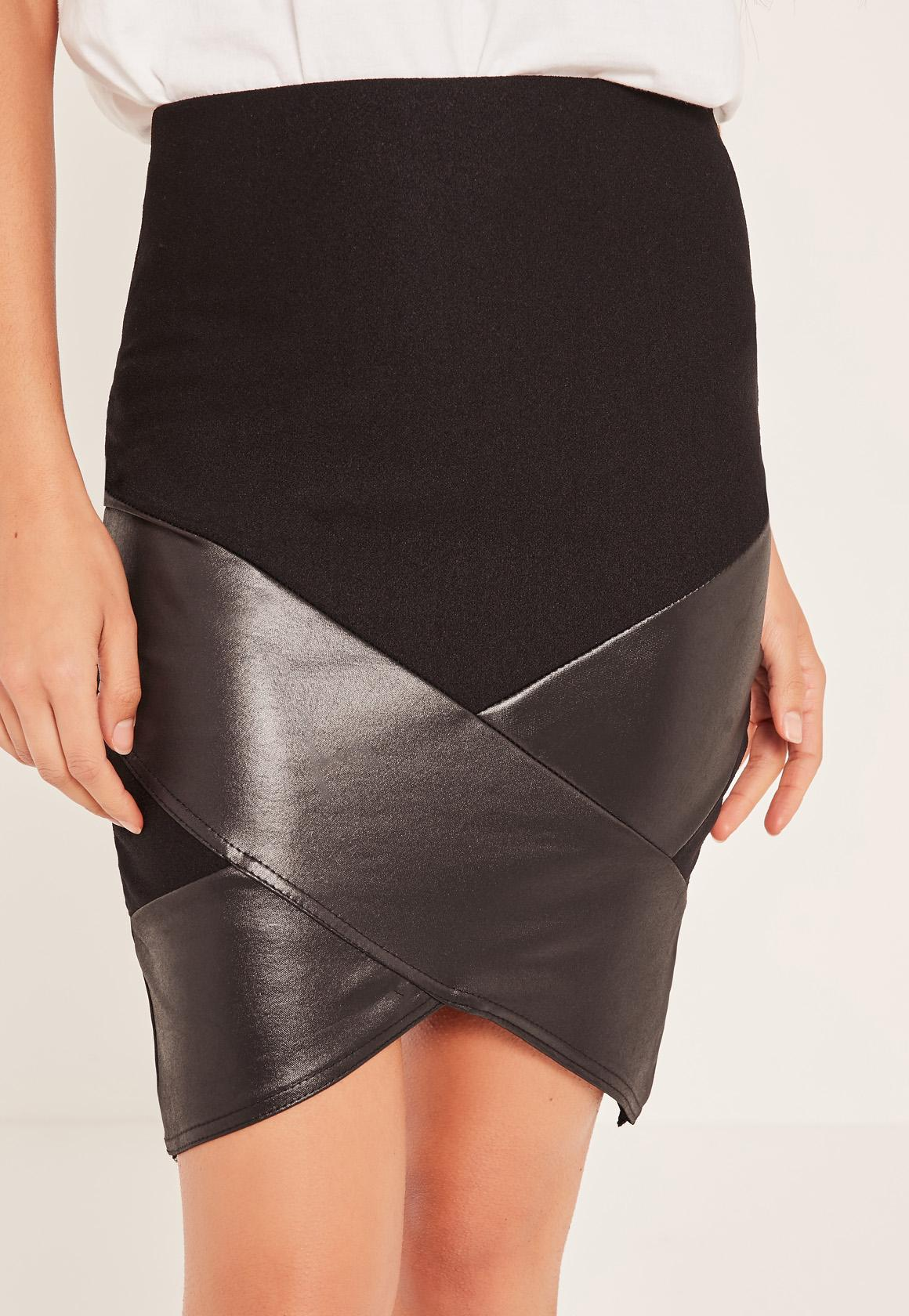 Black Wrap Over Faux Leather Panel Mini Skirt Classic