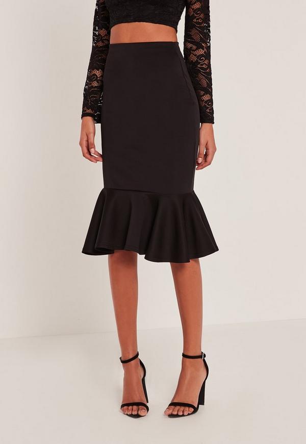Black Lightweight Scuba Frill Hem Midi Skirt | Missguided
