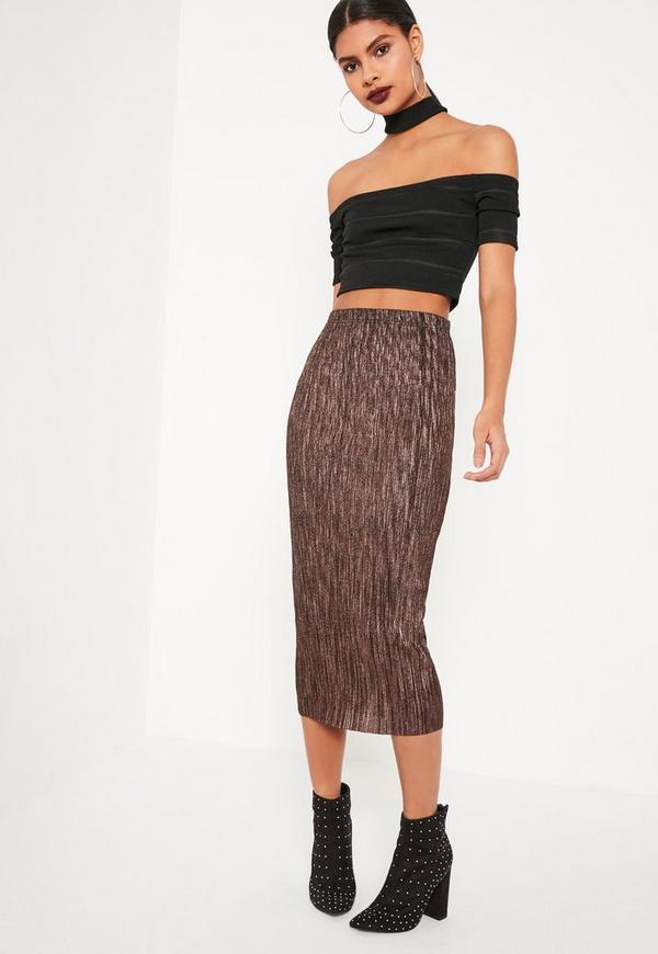 Bronze Pleated Metallic Midi Skirt