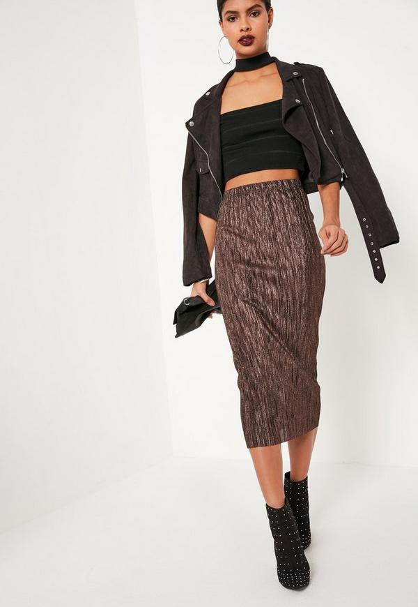 Bronze Pleated Metallic Midi Skirt Missguided