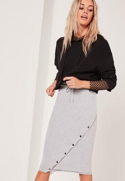 Grey Loopback Asymmetric Midi Skirt