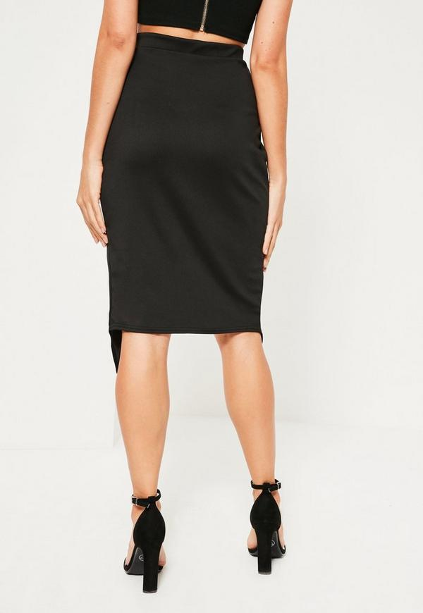 black scuba split front wrap midi skirt missguided