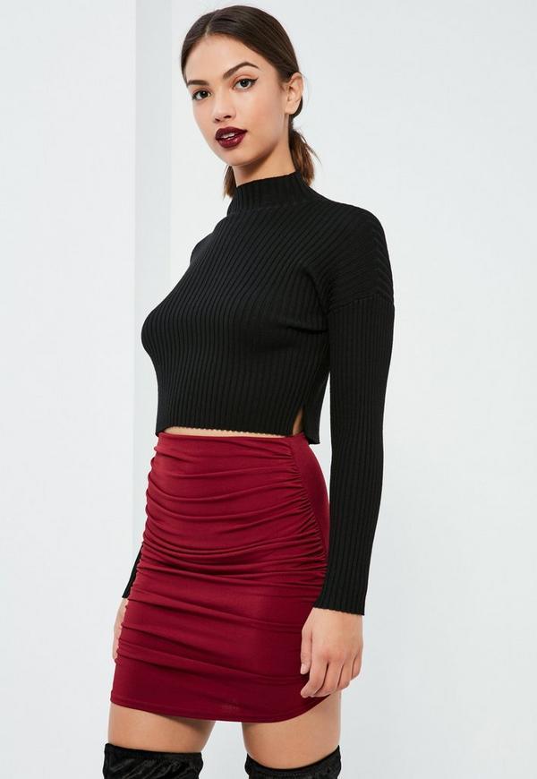 Burgundy Slinky Asymmetric Ruched Side Mini Skirt