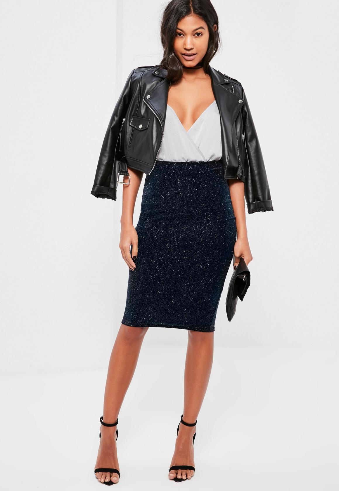 Navy Sparkle Velvet Midi Skirt - Missguided
