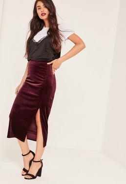 Burgundy Velvet Split Side Midi Skirt