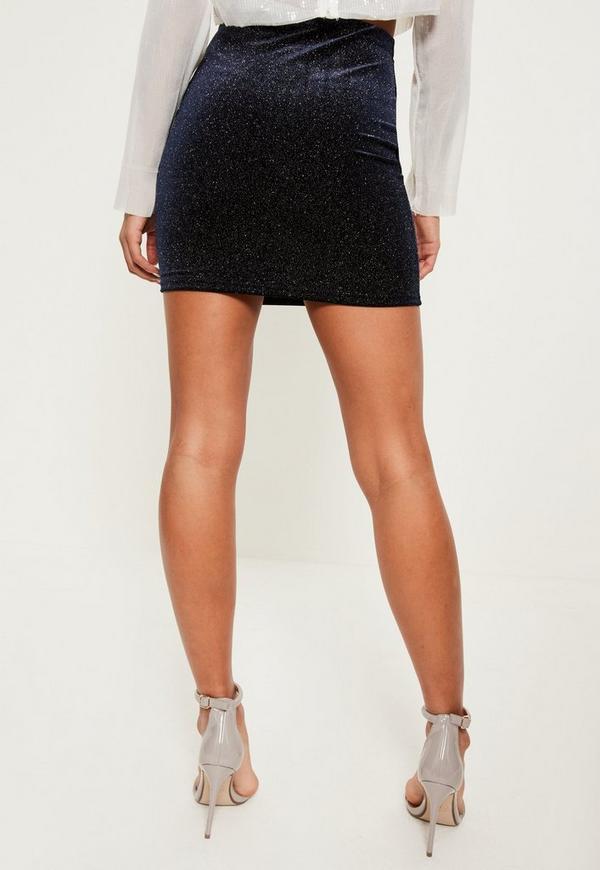 Blue Sparkle Velvet Mini Skirt | Missguided