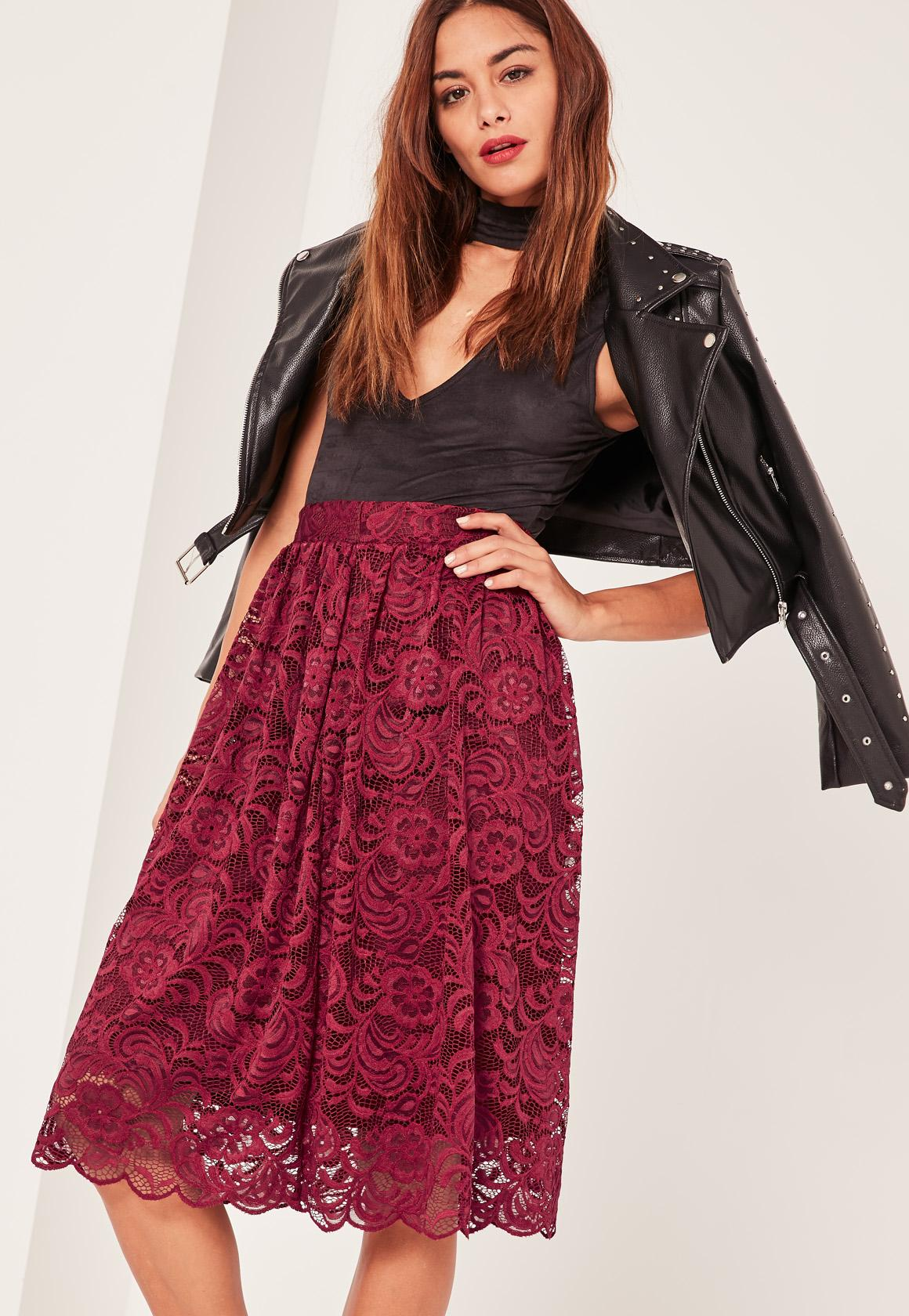 Caroline Receveur Red Full Lace Midi Skirt | Missguided