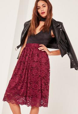 Caroline Receveur Red Full Lace Midi Skirt