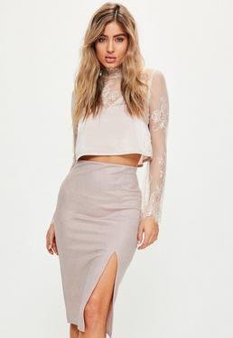 Pink Sparkle Effect Split Front Midi Skirt