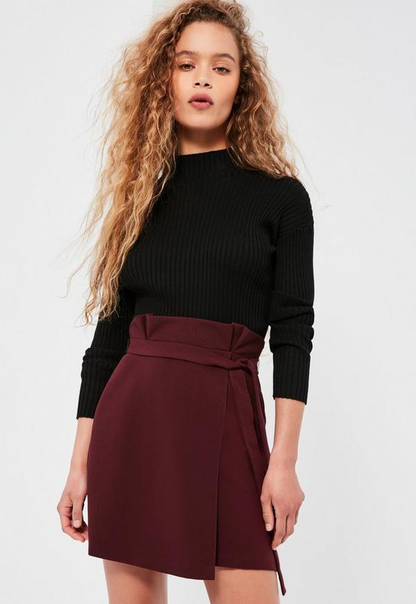 Burgundy Paper Bag Waist Wrap Mini Skirt