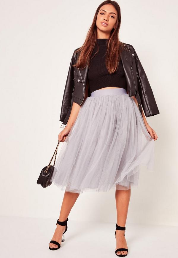 Tutu Midi Skirt Grey