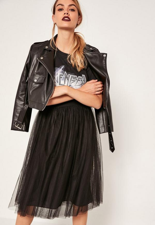 Black Tutu Midi Skirt