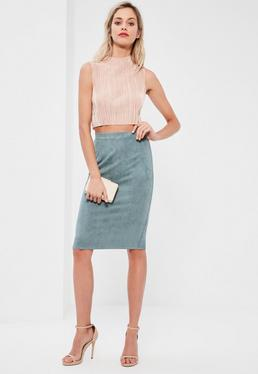 Faux Suede Midi Skirt Blue