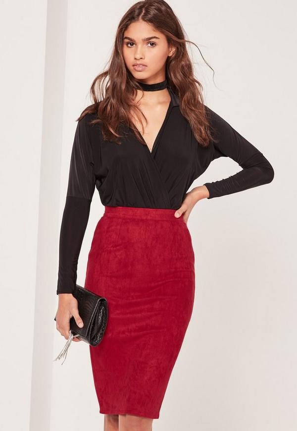 Faux Suede Midi Skirt Red