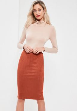 Faux Suede Midi Skirt Orange