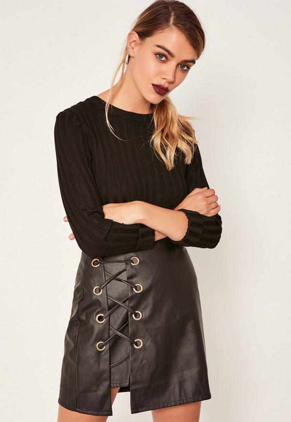 Black Faux Leather Eyelet Detail Lace Up Skirt