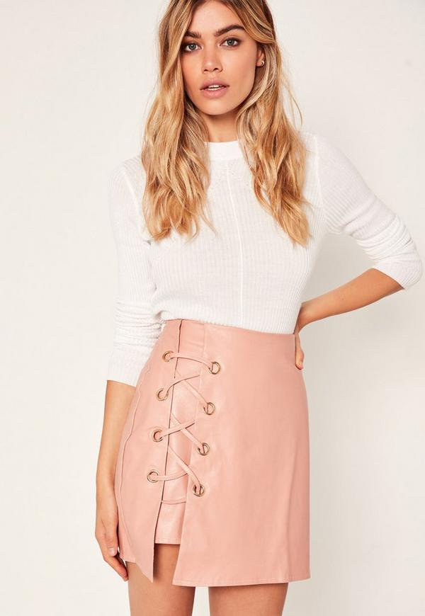 Pink Faux Leather Eyelet Detail Lace Up Skirt
