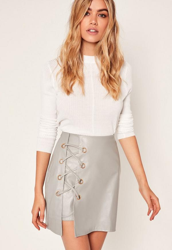 Grey Faux Leather Eyelet Detail Lace Up Skirt
