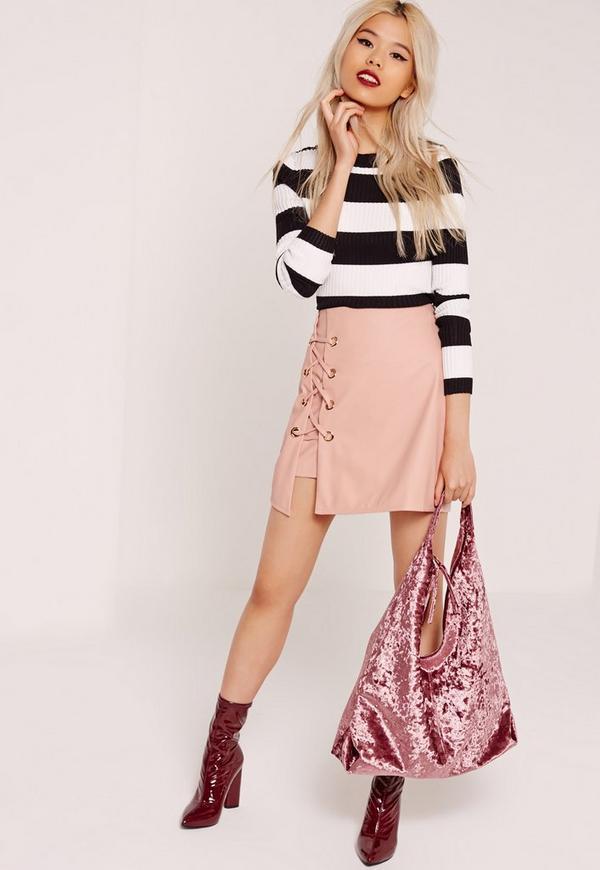 Eyelet Detail Lace Up PU Skirt Pink