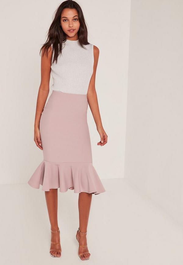 Pink Lightweight Scuba Frill Hem Midi Skirt