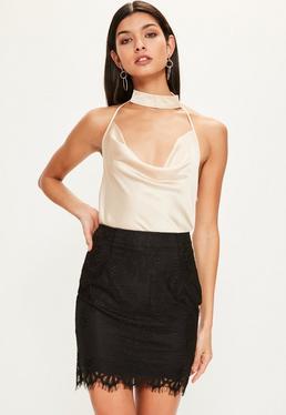 Black Eyelash Lace Zip Back Mini Skirt