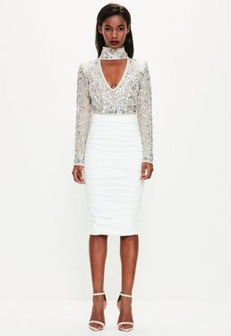 Peace + Love White Ruched Midi Skirt