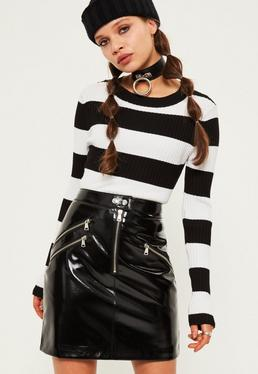 Black Wet Look Zip Front Mini Skirt