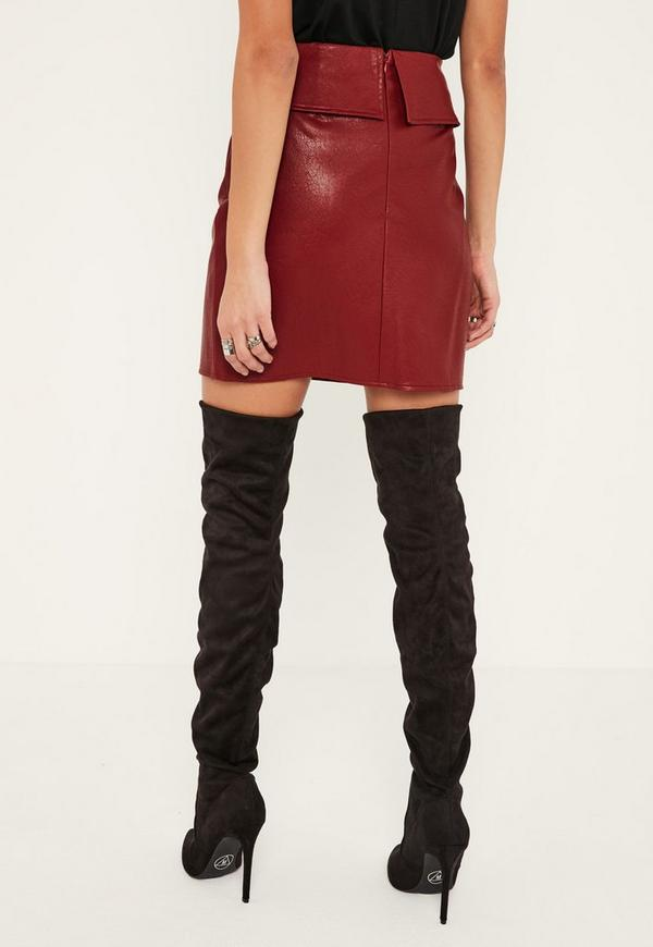 burgundy overlay faux leather mini skirt missguided