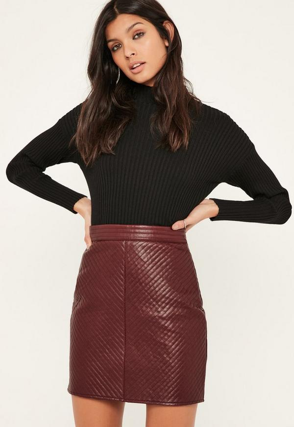 Burgundy Faux Leather Full Mini Skirt | Missguided