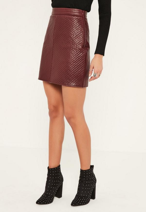 Burgundy Faux Leather Quilted Mini Skirt - Missguided