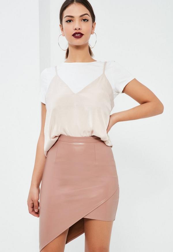 Pink Asymmetric Faux Leather Midi Skirt
