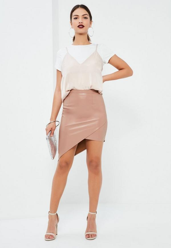Pink Asymmetric Faux Leather Midi Skirt - Missguided