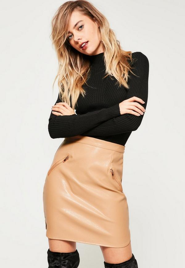 Nude Curved Hem Faux Leather Zip Pocket Mini Skirt