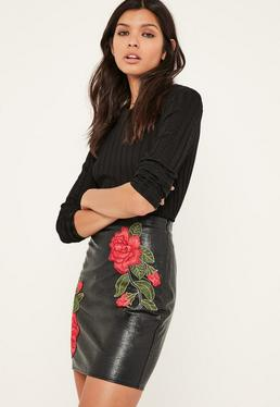 Black Floral Embroidered Faux Leather Mini Skirt Black