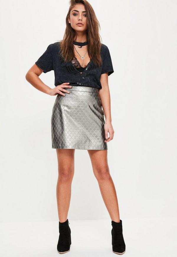 silver faux leather quilted a line skirt missguided