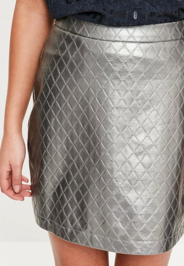 Silver Faux Leather Quilted A-Line Skirt   Missguided