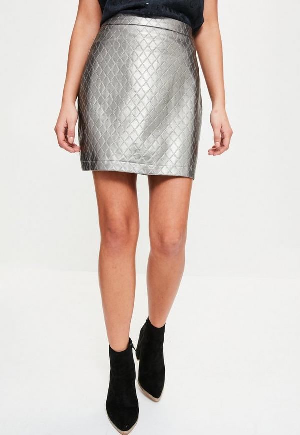 Silver Faux Leather Quilted A-Line Skirt - Missguided