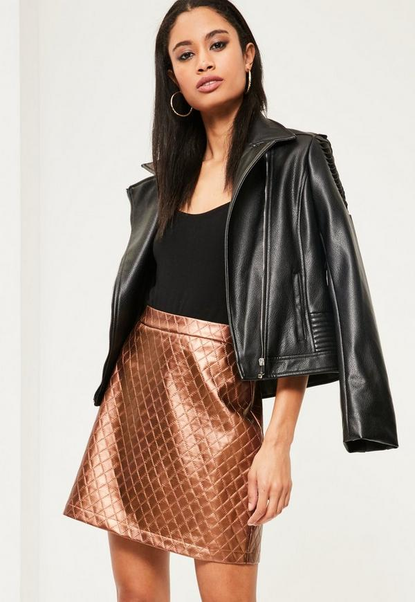 Rose Gold Faux Leather Quilted A-Line Skirt