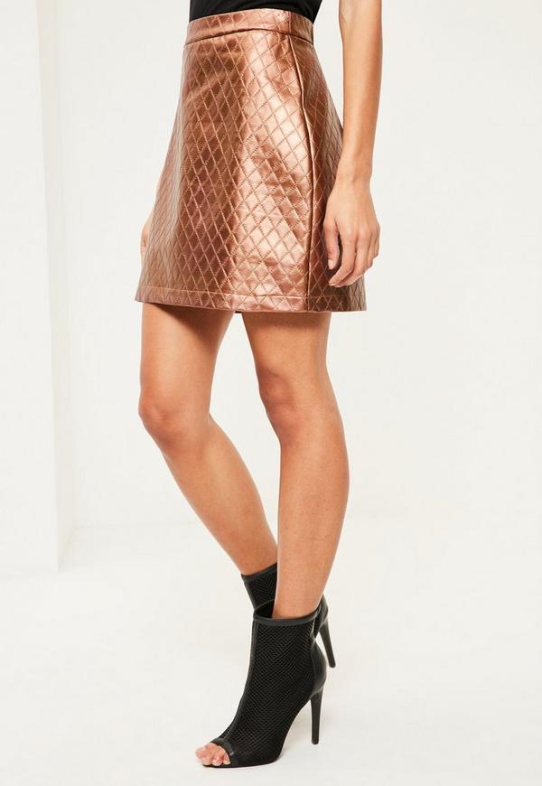 gold faux leather quilted a line skirt missguided