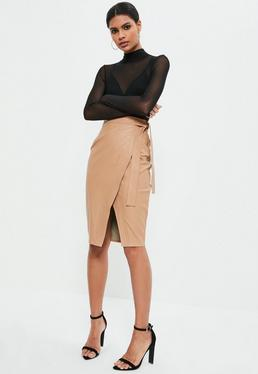 Nude Faux Leather Side Tie Wrap Midi Skirt