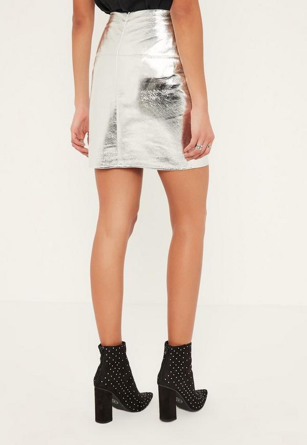 silver metalic foil stitch front faux leather mini skirt