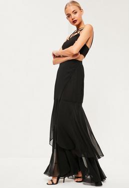 Black Chiffon Wrap Frill Hem Maxi Skirt