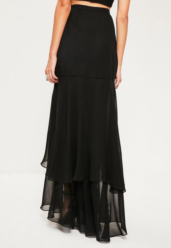 black chiffon wrap frill hem maxi skirt missguided